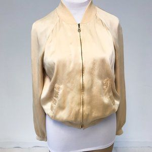 Vintage 90s XL 100% Silk Bomber Jacket Yellow Gold